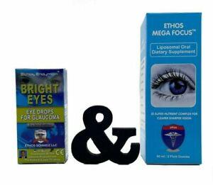 Ethos Glaucoma Bright Eyes Eye Drops 10ml and Ethos Mega Focus 60ml