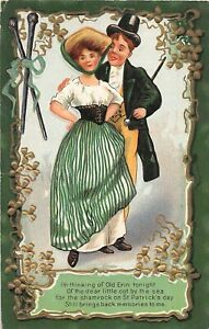 G36/ St Patrick's Day Holiday Postcard c1910 Old Erin Man Woman 1