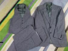 vintage 3Pc Suit TWEED Fleck Wool 40R 32x30 Gray