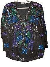 NWT SILHOUETTES Black Silk Sequined Jacket Skirt Sz 3X Entirely Sequin Covered