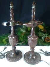 """Vtg Metal Table Lamp Base 2 Bulb Exc for Tiffany Style Stained Glass Shade 17"""""""