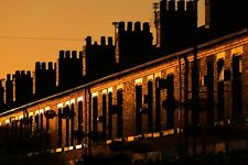 Manchester Sunset Photograph Terraced Houses Coronation Street