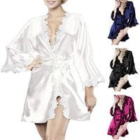 Silk Satin Short Wedding Party Bridesmaid Robe Women Ladies Bathrobe Kimono US
