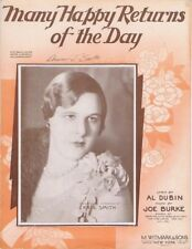 Many Happy Returns Of The Day, Kate Smith photo, 1931, vintage sheet music