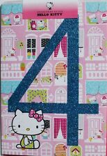 Happy 4th Birthday Hello Kitty card, female, glitter, brand new