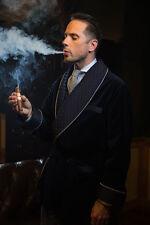 Smoking Jacket Men's Blue Velvet Evening Dressing Gown Robe Blazer Dinner Coat