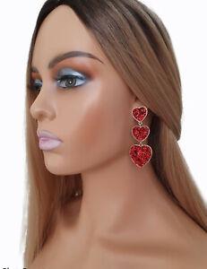 7cm long gold tone & red heart shape triple layered drop statement earrings #A74
