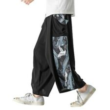 Mens Chinese style Pants Wide Leg Printed Trousers Drawstring Slacks Loose Fit L