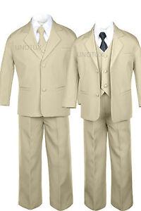 6pc Boy Toddler Teen Formal Wedding Party Khaki Suits Tuxedo Extra Necktie 4T-20