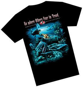 Amphibious Outfitters T-Shirt - Sunken Plane - Fear to Tread - Black - Scuba