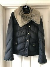 Karen Millen Black & Light Fur Collar & Cuff Puffer Jacket UK size 10