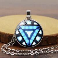 Iron Man Arc Reactor Pendant Glass Necklace Tony Stark Avengers Handmade Jewelry