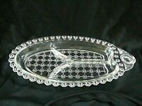 Clear Glass Oval 3 Section Divided Serving Dish Candy Appetizer Plate Textured