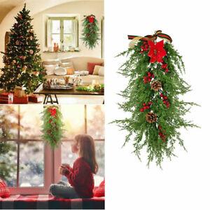 65cm Christmas Teardrop Swag Wreath Garland Artificial Xmas Hanging Door Decor
