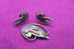 John Bryan Enamel Pin Brooch Earrings Modernist Mid-Century MCM