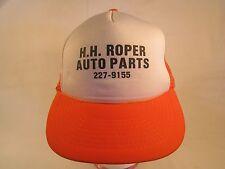 Vintage Mens Cap H H ROPER AUTO PARTS San Antonio, Texas (Orange) [Z84c]