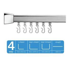 Croydex Slenderline Shower Rail L & U-Shaped & Straight + Ceiling Support Chrome