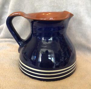 V Large Blue Glazed Earthenware Studio Pottery Jug Pitcher VGC