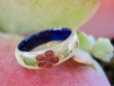VINTAGE Chinese CLOISONNE Ring w/Flower Design 4.3 grams Size 7.5-8