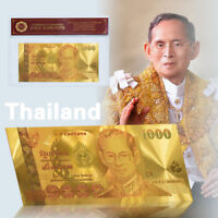 WR Gold Foil Thailand 1000  Banknote THAI Baht Bhumibhol 24K Novelty Best Gifts