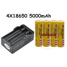4PCS BRC 5000mAh 18650 Battery 3.7v Li-ion Rechargeable Battery+1x Dual Charger!