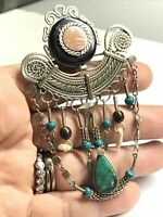 Vintage Silver Tone  Navajo Green Turquoise Tribal Pin Brooch