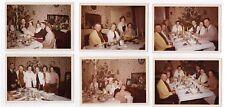 Lot 6 PHOTO COULEUR 1961 Noël Sapin Fête Repas de famille Drôle Tapisserie Rire