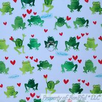 BonEful FABRIC FQ Cotton Quilt White Green Frog Red Heart Blue Water Boy Love US