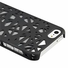 For Apple iPhone 5 5S SE Rubberized Bird Nest HARD Case Snap Phone Cover Black