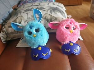 Pink and blue Hasbro Furby Connect Interactive Pet with Sleeping Masks instructi