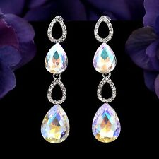 Rhodium Plated Clear Crystal AB Rhinestone Drop Chandelier Dangle Earrings 00757