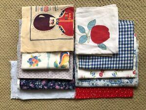 Lot of 10 antique vintage feed sacks, flour sacks, tea towels, fabric scraps