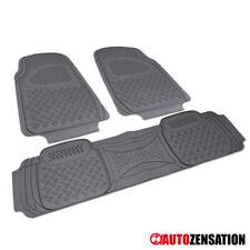 3PC Semi Custom Floor Mat Carpet Truck SUV Van Gray PVC Non Slip Rubber