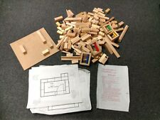 vtg Young Builders Series WOOD ARCHITECTURAL BUILDING BLOCK  w/ house plans