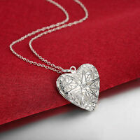 925 Sterling Silver Filled Hollow Filigree Heart Locket Charm Pendant Necklace