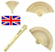 Folding bamboo hand held fan wooden leaf art curved dance wedding party holidays