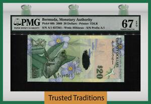 TT PK 60b 2009 BERMUDA MONETARY AUTHORITY 20 DOLLARS PMG 67 EPQ SUPERB GEM UNC!