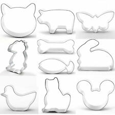 10 piece Cookie Cutter Set Animal Shapes Baking Cake Decorating Metal Mixed