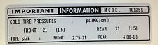 HONDA TL125 TYRE TIRE INFORMATION CHAIN CAUTION WARNING DECAL 2