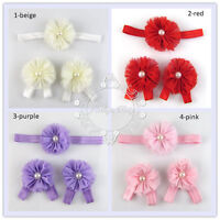 Baby Girl Toddler Kids Headband Barefoot Flower Shoes Sandals Set Photo Prop