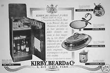 PUBLICITÉ KIRBY BEARD & Co MEUBLES VAISSELLE CONFITURIER BEURRIER LÉGUMIER