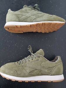 "Reebok Classic Suede Leather Trainers Size UK 11  . Olive "" GREAT CONDITION"""