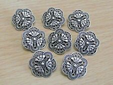 More details for attractive set of 8 silver tone metal buttons