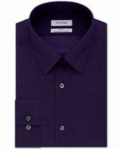 Calvin Klein Mens Dress Shirt Purple Size XL 17 Button Down Steel $75 #046