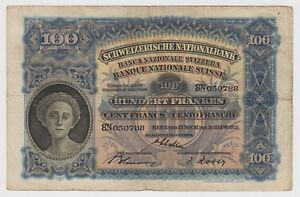 Switzerland 100 Francs 31 08 1938 P35j VF National Suiss Bank Scyther Woman