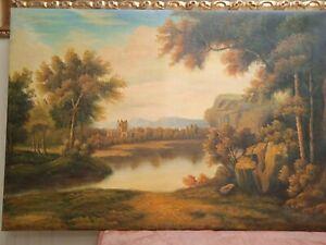 Quadro paesaggio fiammingo Dipinto a Mano Olio Su Tela  60x90 con telaio unico