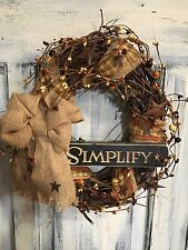"12""Primitive Country Simplify Grapevine Wreath W/homespun & Pip Berries W/stars"