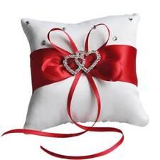 Wedding Pillow Cushion Double Heart Satin Ring Pillow Wedding Party Decoration