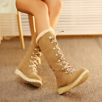 Fashion Fur Furry Winter Womens Warm Sweet Snow Lace Up Shoes Knee High Boots
