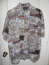 Genuine Navy Blue Comfort Hawaiian Print Brown Gray 100% Cotton Shirt Sz L Large